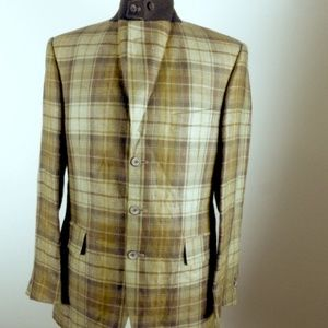 HOLLAND & HOLLAND ENGLAND PLAID LINEN blazer 38